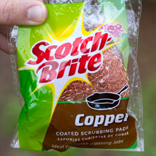 Copper Scrubber to Block Snails and Slugs